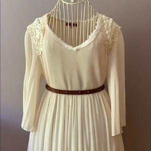 Vivienne Tam pleated dress lace trim